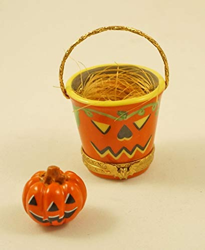 Authentic French Porcelain Hand Painted Limoges Box Halloween Bucket with Jack'O Lantern Pumpkin ()