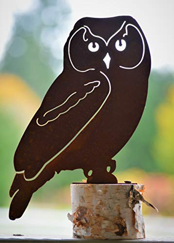 Elegant Garden Design Owl - Large, Steel Silhouette with a Rusty Patina -