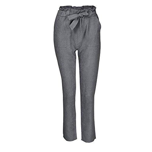 Estivi Monocromo Accogliente Allentato Grazioso Fashion Pantaloni Lunghi Donna High BIRAN Donna Waist Pantalone Cintura Per Pantaloni Grau Elastico Skinny Eleganti Libero Inclusa Tempo Pantaloni z6xxqwTZ