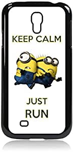Keep Calm Just Run - despicable me - Minions - Hard Black Plastic Snap - On Case-Galaxy s4 i9500 - Great Quality!
