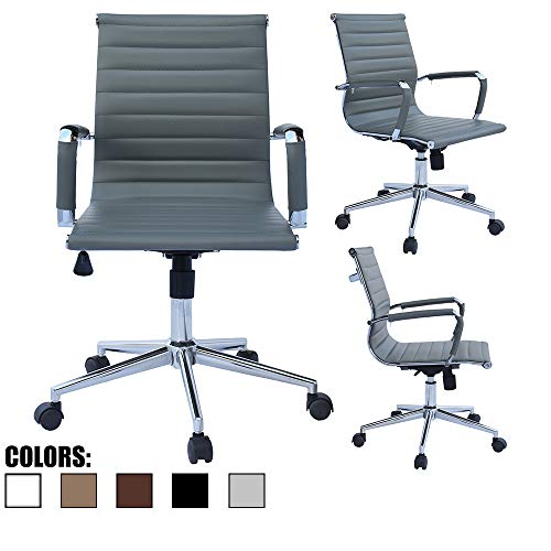 2xhome Mid Century Office Chair with Arms Wheels Modern Desk Chair Ergonomic Executive Chair Mid Back PU Leather Arm Rest Tilt Adjustable Height Swivel Task Computer Conference Room Gray