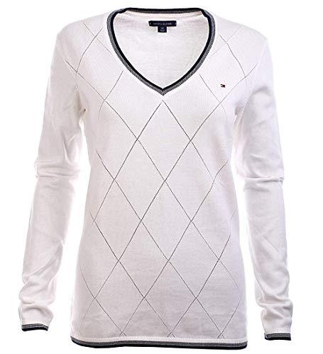 - Tommy Hilfiger Women's Argyle V-Neck Cotton Logo Sweater - M - Cream