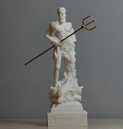 Poseidon Greek God of the Sea Neptune Statue Sculpture Figurine Handmade 6.5΄΄ (White Alabaster Statue)