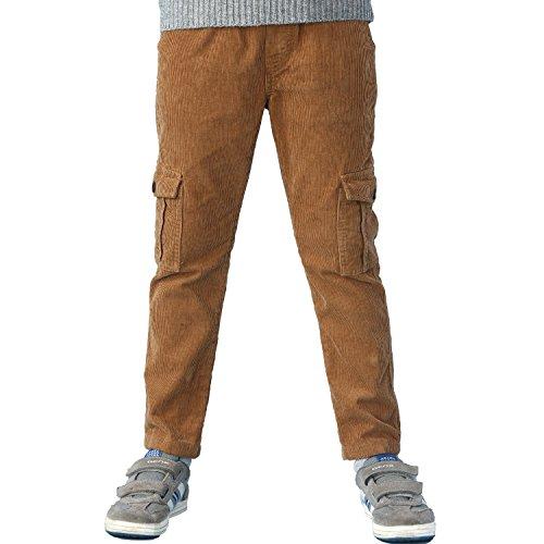 Leo&Lily Boys Husky Waist Whole Waist Rib Corduroy Cargo Trousers Pants (Khaki, 6)