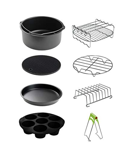 CAXXA XL Air Fryer Accessories Compatible with Gowise, Cozyna and Phillips, Fit all 4.2QT - 6.8QT and UP (Deluxe Set Of 9)