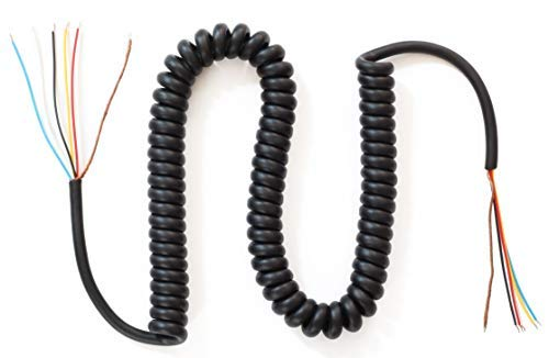 MC-100 Replacement Coiled Microphone Cord - 6 Conductor - 10 Foot Cable - CB/Ham/Two-Way Microphones