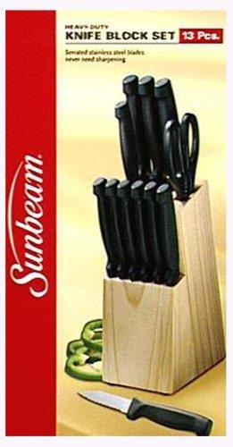 Sunbeam 13-Piece Knife Set with Pinewood Block