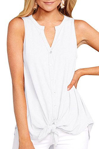 (Inorin Womens Button Down Long Tank Tops Tie Front Summer Casual V Neck Sleeveless Tunic Shirts White)