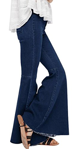 Bottom Pants High Waist Tassel Stretch Curvy Fit Jeans Blue ()