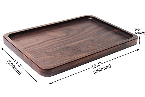 Samyo Black Walnut Solid Wood Rectangular Tableware Serving Tray Handcrafted Decorative Trays Food Tray Serving Platters with gripper for Coffee Wine Cocktail Fruit Meals (Large Size) by SAMYO (Image #5)