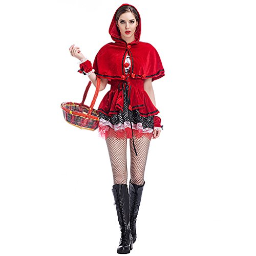 Boleyn Little Red Riding Hood Costume Sexy Halloween Fairy Tale Dress for Women -