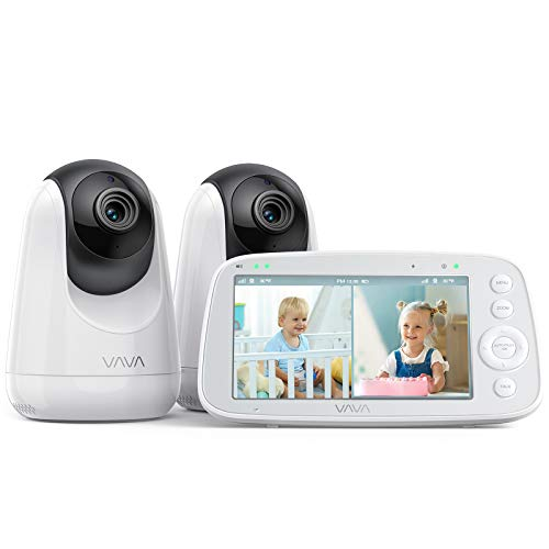 VAVA-Baby-Monitor-Split-View-5-720P-Video-Baby-Monitor-with-2-Cameras-Audio-and-Visual-Monitoring-Pan-Tilt-Zoom-900ft-Range-4500mAh-Battery-Infrared-Night-Vision-and-Thermal-Monitor