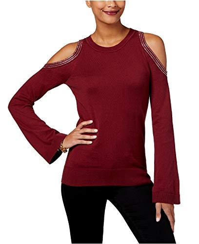 Michael Kors Cashmere Shrug - Michael Michael Kors Womens Cold Shoulder Embellished Crewneck Sweater Red XL