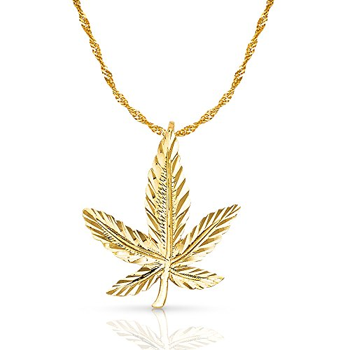 ellow Gold Marijuana Leaf Charm Pendant with 1.2mm Singapore Chain Necklace - 22