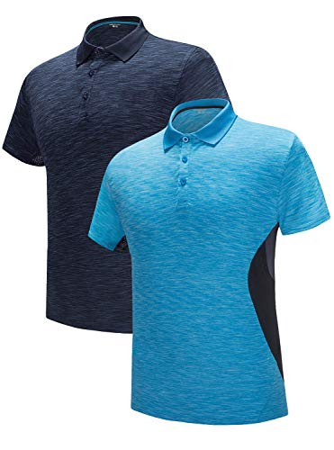 About Golf T-shirt - GEEK LIGHTING Men's Polo Shirt Quick-Dry High Moisture Wicking Short Sleeve Sports Golf Tennis T-Shirt (Lakeblue&DarkBlue,L)