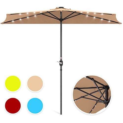 (Best Choice Products 8.5ft Solar LED Half Umbrella for Backyard, Patio, Porch w/Easy Crank, Wind Vent, Panel, Tan)
