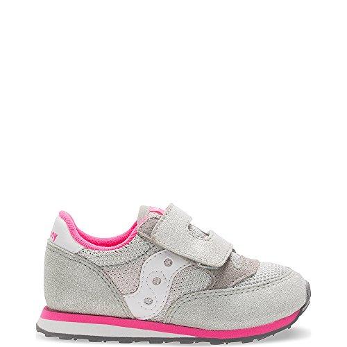 Saucony Jazz Hook & Loop Sneaker (Toddler/Little Kid), Silver/Pink, 7.5 M US Toddler
