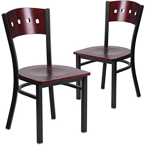 Flash Furniture 2 Pk. HERCULES Series Black 4 Square Back Metal Restaurant Chair - Mahogany Wood Back & Seat