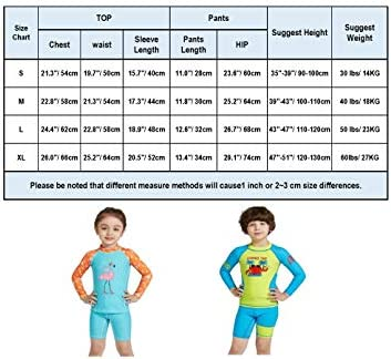 Connecting Swimsuit Girls Kids Sleeve Flamingo Print Rash Guard Set 2-7 Years