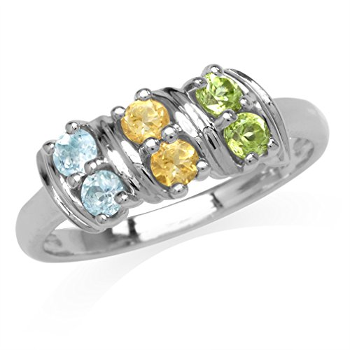 Natural Peridot, Citrine & Blue Topaz Double Row White Gold Plated 925 Sterling Silver Ring Size (Sterling Silver Peridot Citrine Ring)