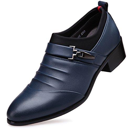 Blau Leder Men's Mode Herbst Sehnen Business Rutschen Hochzeit Dress Schwarzbraun Freizeit Schuhe PPwdZr