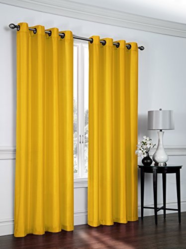 2- Piece Faux Silk Grommet Curtain Panels – 54″ By 84″ Inch Total Width 108″ X 84″ – Yellow
