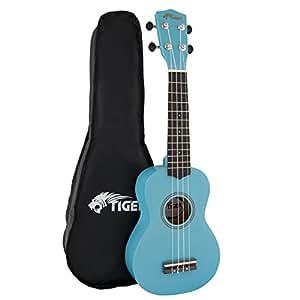Tiger UKE7-BL - Funda para ukelele soprano para principiantes, color azul