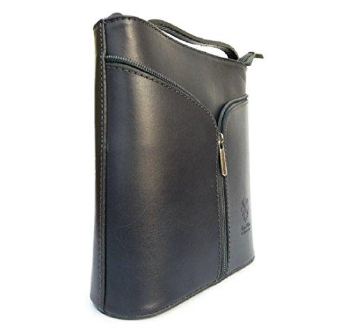 Women Ladies Zip Leather Real Dark Crossbody Fashion Front Bag Italian Grey Handbag qpRqU