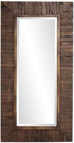 Howard Elliot Timberlane Rustic Wall Mirror, Walnut Finished Wood Frame Accent Mirror