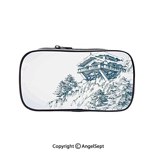 Pen Case Office College School Large Storage,Snowy Winter Landscape Painting with Mountain Hut Wooden Pine Tree Forest Art Print Blue White 5.1inches,Box Organizer New Arrival -