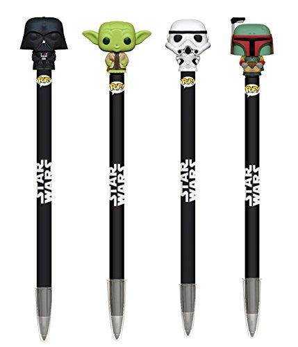 Star Wars Lightsaber Pen (Funko POP Classic Star Wars: Darth Vader, Master Yoda, Boba Fett, and Stormtrooper Pen Toppers - 4 Pack Set)