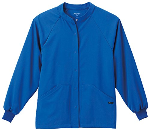 Unisex Uniform Warm Up Jacket (Classic Fit Collection By Jockey Unisex Snap Front Warm Up Solid Scrub Jacket Small Royal)