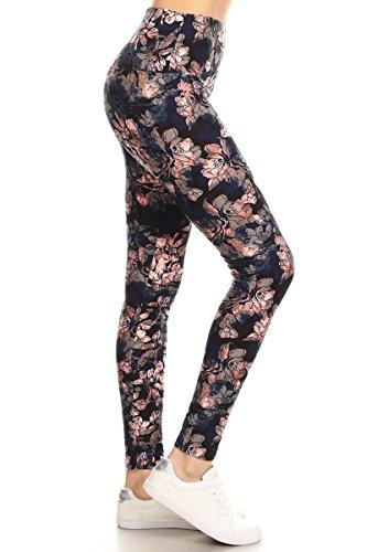 LY5R-R872 Nymph's Whisper Printed Yoga Leggings, One Size