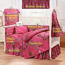Camo Realtree AP Fuchsia (Hot Pink) 7 Pc Baby Crib Set - Gift Set, Save By Bundling!