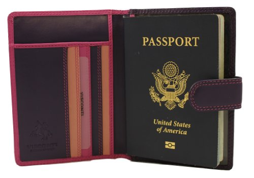 Visconti Women's Soft Leather Secure RFID Blocking Passport Cover Wallet - POLO 2201