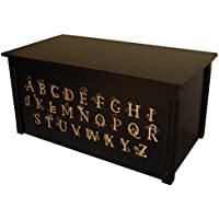 Wood Toy Box, Large ABC Toy Chest in Espresso, Thematic Font, Custom Options (Cedar Base - Gold Lettering)