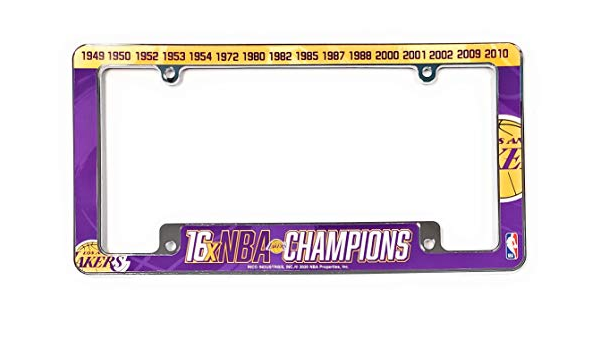 Los Angeles Lakers 2020 Champions Purple Metal License Plate Frame Chrome Tag Cover Basketball Rico Industries Inc