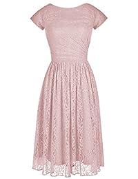 Alagirls Modern Short Bridesmaid Dress Lace Prom Evening Dress Cap Sleeves