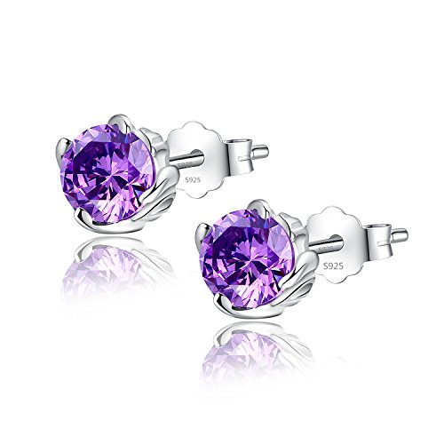 Silver Simulated Amethyst February Birth Month Earrings Stud Cubic Zirconia, Gifts for (Amethyst February Earrings Jewelry)