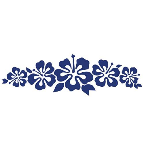 Hibiscus Band Vinyl Sticker - Flower Decal Hawaii Dark Blue Flower Lei