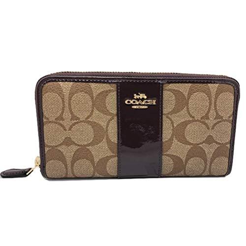 Coach Women's Signature PVC Patent Accordian Zip Around Wallet Khaki/Oxblood