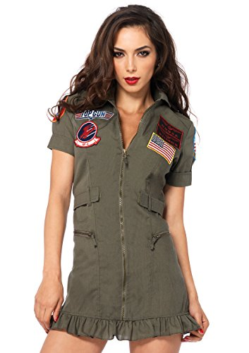 Maverick Top Gun Costumes - Leg Avenue Women's Top Gun Flight Zipper Front Dress Costume, Green, Small