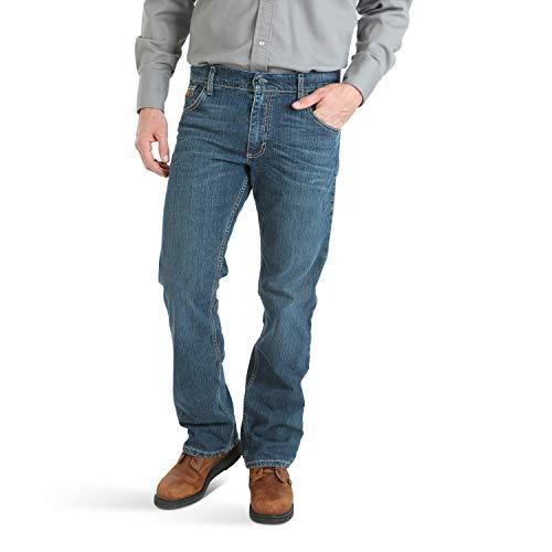 Wrangler Men's FR Flame Resistant Slim Boot Cut Jean, Stone mid, 32x30 - Flame Resistant Wear