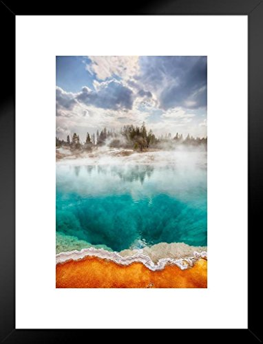 Poster Foundry West Thumb Geyser Basin Yellowstone National Park Photo Matted Framed Art Print Wall Decor 20×26 inch
