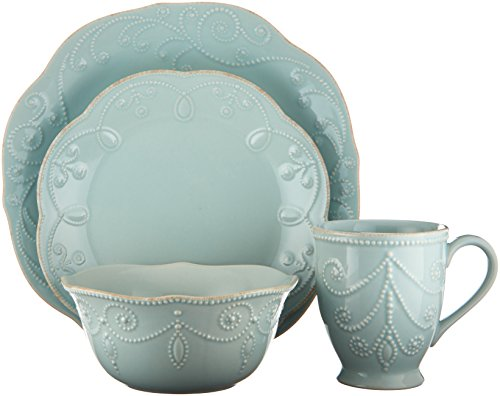 Lenox French Perle 4-Piece Place Setting, Ice Blue (Settings Place Dinnerware 12 For Sets)