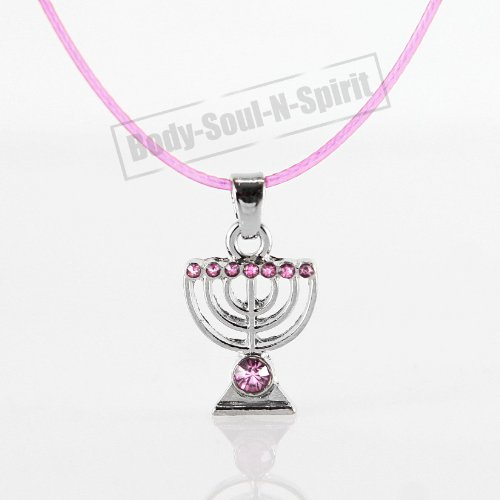 Judaica Jewelry (Pink MENORAH Necklace Israel Jewish Kabbalah Judaica Jewelry)
