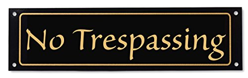 No Trespassing Sign - Classy Look, Durable Steel, Gloss Black (Other Colors (Wrought Iron Aluminum Fence)
