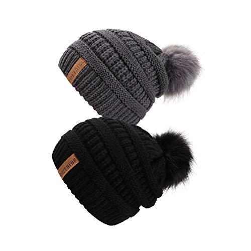 QUEENFUR Women Knit Slouchy Beanie Chunky Baggy Hat with Faux Fur Pompom Winter Soft Warm Ski Cap (2 Pcs Black/Dark Grey)