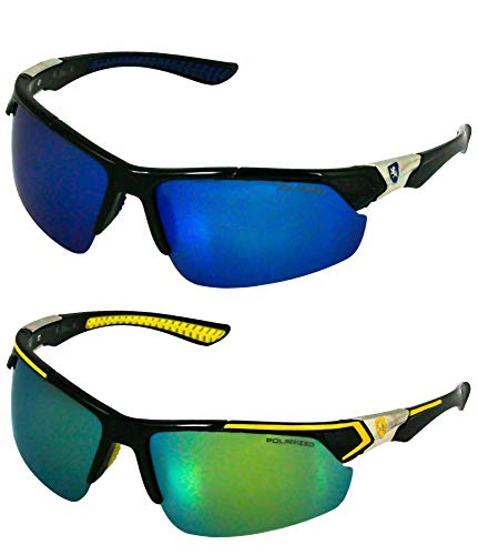 Elite Men Polarized Premium Sport Sunglasses Baseball Cycling Fishing Wrap Around Driving Glasses (Blue and Yellow, 63)