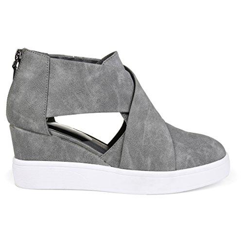 Brinley Co. Womens SEB Athleisure D'orsays Criss-Cross Sneaker Wedges Grey, 8 Regular US